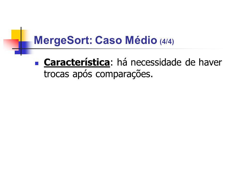 MergeSort: Caso Médio (4/4) Característica: há necessidade de haver trocas após comparações.