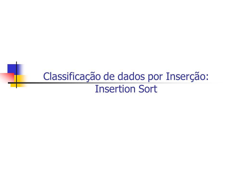 Classificação de dados por Inserção: Insertion Sort
