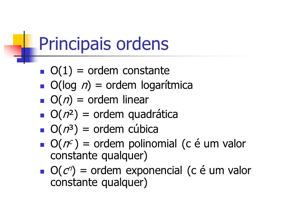 Principais ordens O(1) = ordem constante O(log n) = ordem logarítmica O(n) = ordem linear O(n²) = ordem quadrática O(n³) = ordem cúbica O(n c ) = orde