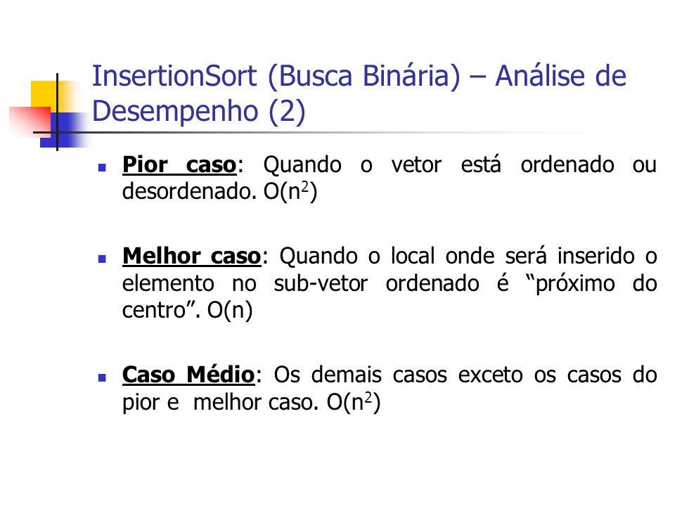InsertionSort (Busca Binária) – Análise de Desempenho (2) Pior caso: Quando o vetor está ordenado ou desordenado. O(n 2 ) Melhor caso: Quando o local