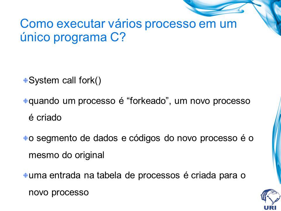 Como executar vários processo em um único programa C? System call fork() quando um processo é forkeado, um novo processo é criado o segmento de dados