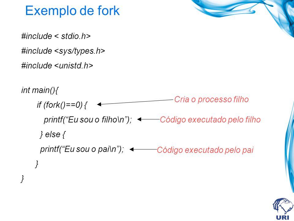 Exemplo de fork #include int main(){ if (fork()==0) { printf(Eu sou o filho\n); } else { printf(Eu sou o pai\n); } Cria o processo filho Código executado pelo filho Código executado pelo pai