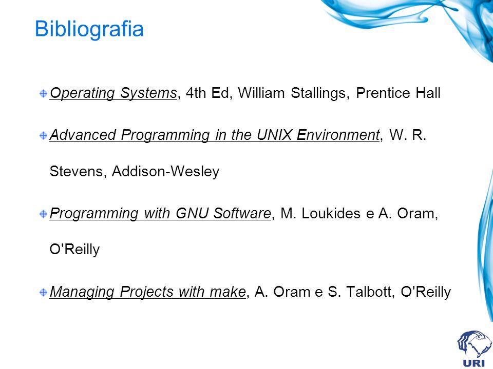 Bibliografia Operating Systems, 4th Ed, William Stallings, Prentice Hall Advanced Programming in the UNIX Environment, W.