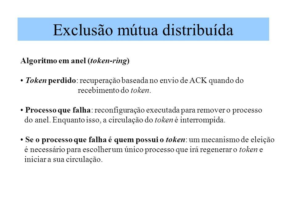 Exclusão mútua distribuída Algoritmo em anel (token-ring) Token perdido: recuperação baseada no envio de ACK quando do recebimento do token. Processo