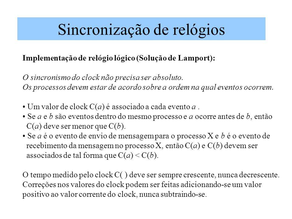 Sincronização de relógios Implementação de relógio lógico (Solução de Lamport): O sincronismo do clock não precisa ser absoluto. Os processos devem es