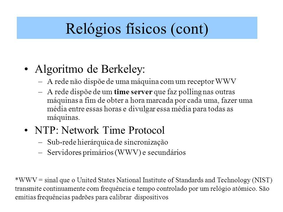 Algoritmo de Berkeley: –A rede não dispõe de uma máquina com um receptor WWV –A rede dispõe de um time server que faz polling nas outras máquinas a fi