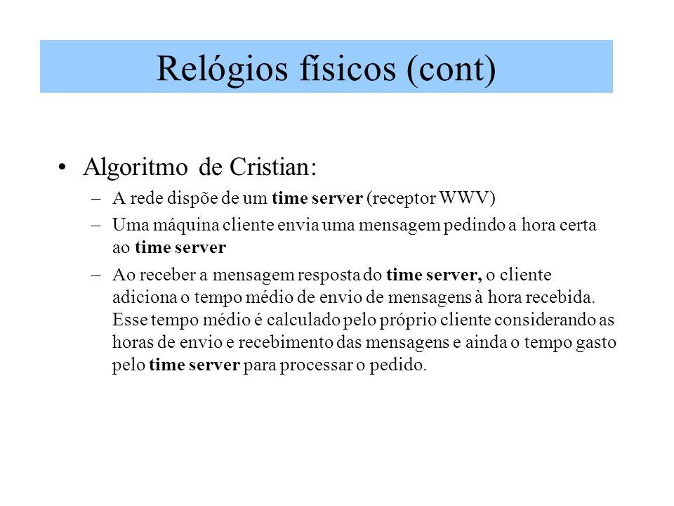 Algoritmo de Cristian: –A rede dispõe de um time server (receptor WWV) –Uma máquina cliente envia uma mensagem pedindo a hora certa ao time server –Ao