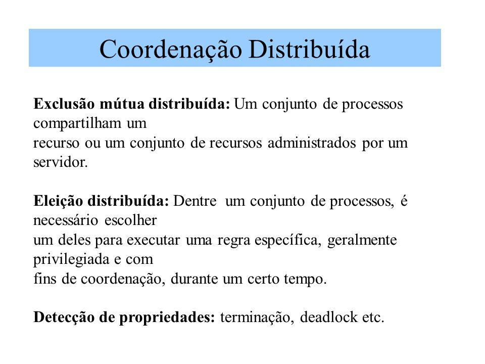 Coordenação Distribuída Exclusão mútua distribuída: Um conjunto de processos compartilham um recurso ou um conjunto de recursos administrados por um s
