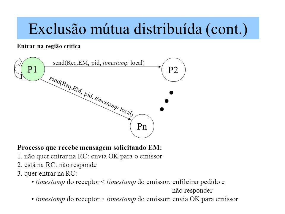 Exclusão mútua distribuída (cont.) P1 Pn P2 send(Req.EM, pid, timestamp local) Entrar na região crítica Processo que recebe mensagem solicitando EM: 1.