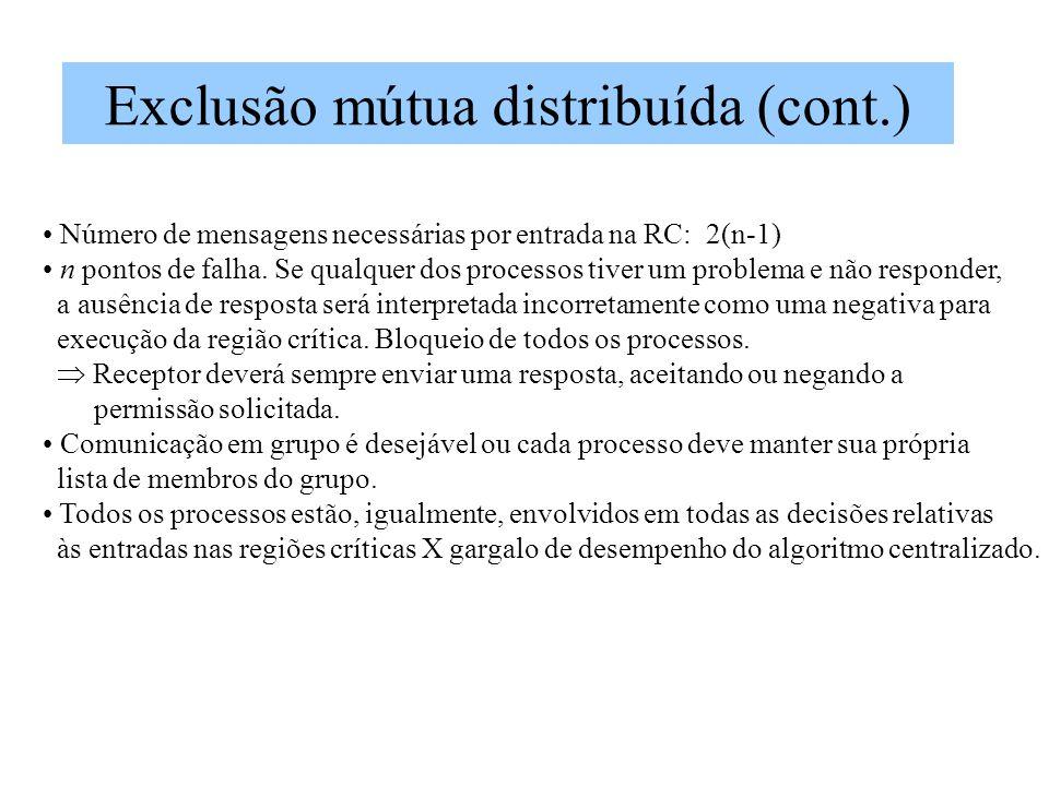 Exclusão mútua distribuída (cont.) Número de mensagens necessárias por entrada na RC: 2(n-1) n pontos de falha.