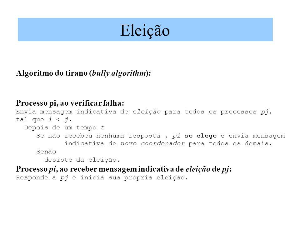 Algoritmo do tirano (bully algorithm): Processo pi, ao verificar falha: Envia mensagem indicativa de eleição para todos os processos pj, tal que i < j