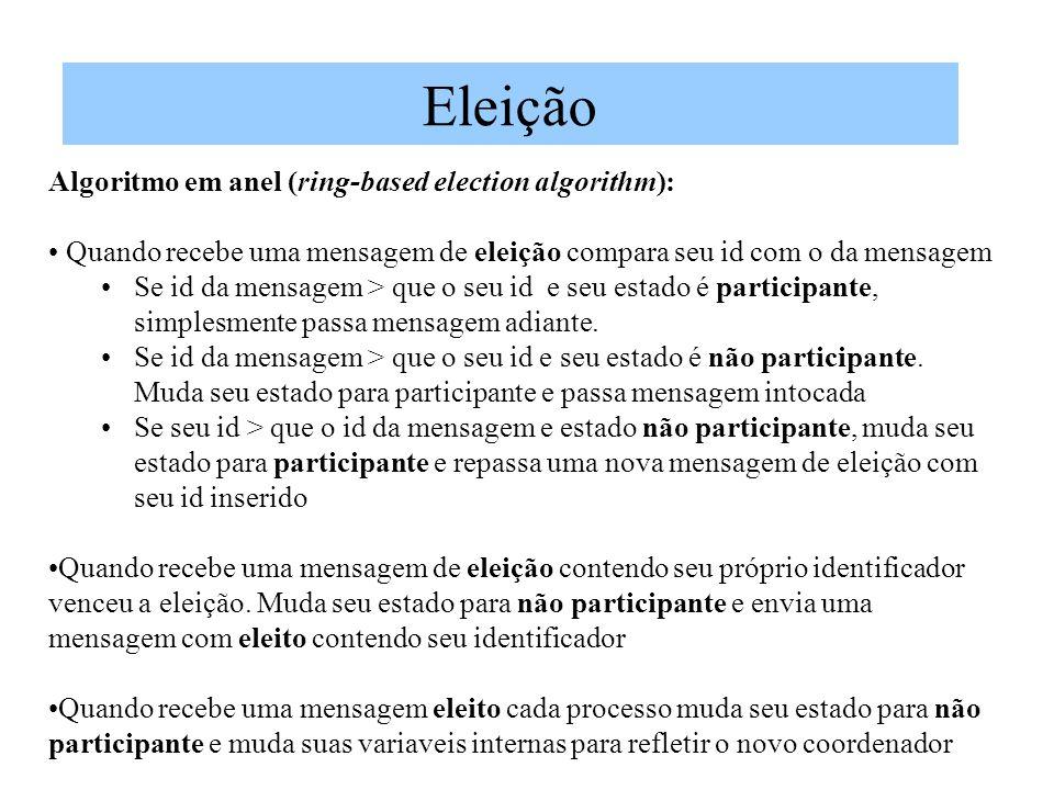 Eleição Algoritmo em anel (ring-based election algorithm): Quando recebe uma mensagem de eleição compara seu id com o da mensagem Se id da mensagem > que o seu id e seu estado é participante, simplesmente passa mensagem adiante.