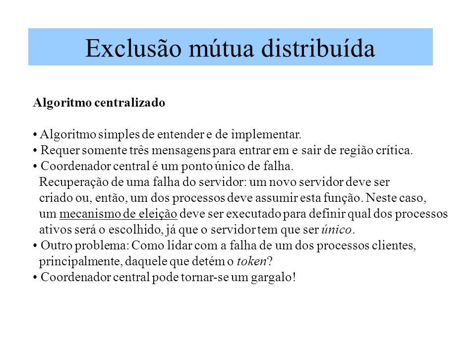Exclusão mútua distribuída Algoritmo centralizado Algoritmo simples de entender e de implementar.