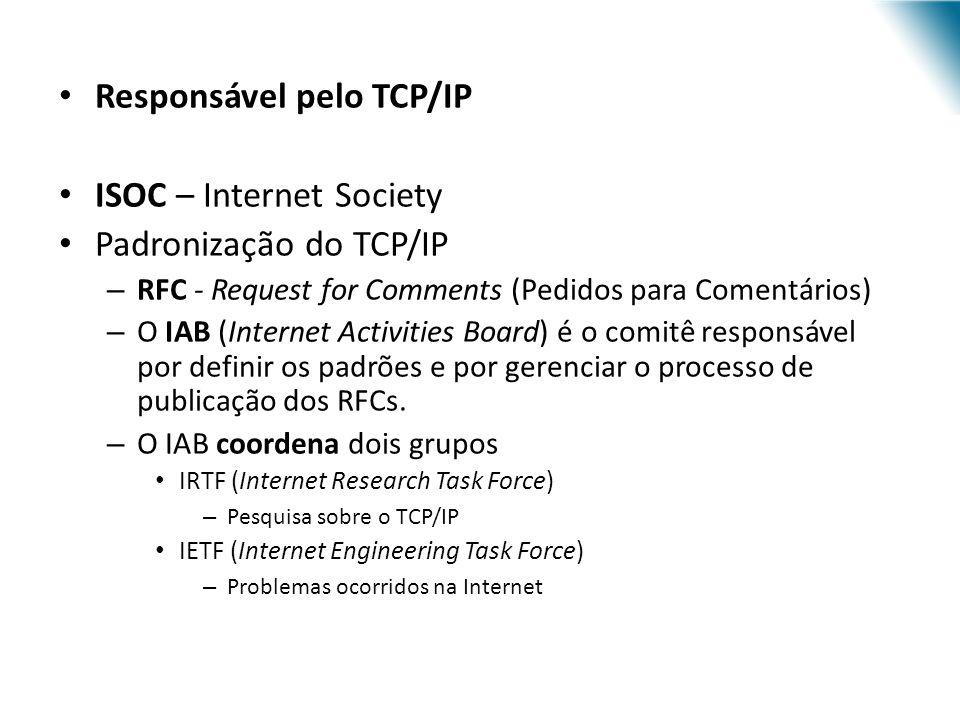 Responsável pelo TCP/IP ISOC – Internet Society Padronização do TCP/IP – RFC - Request for Comments (Pedidos para Comentários) – O IAB (Internet Activ