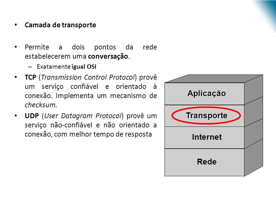 Camada de transporte Permite a dois pontos da rede estabelecerem uma conversação. – Exatamente igual OSI TCP (Transmission Control Protocol) provê um