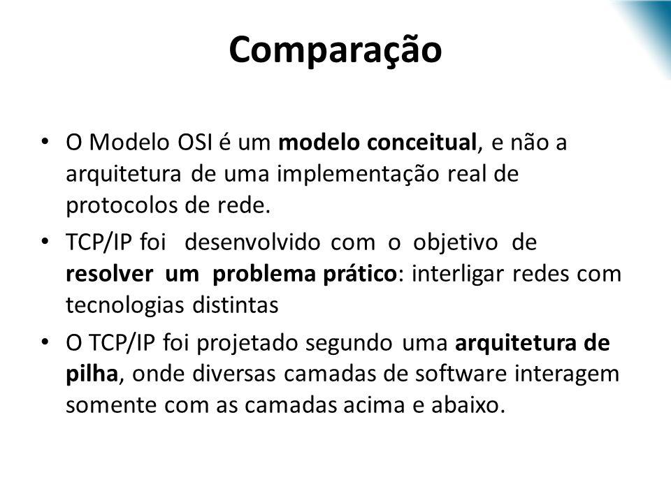 O Modelo OSI é um modelo conceitual, e não a arquitetura de uma implementação real de protocolos de rede. TCP/IP foi desenvolvido com o objetivo de re