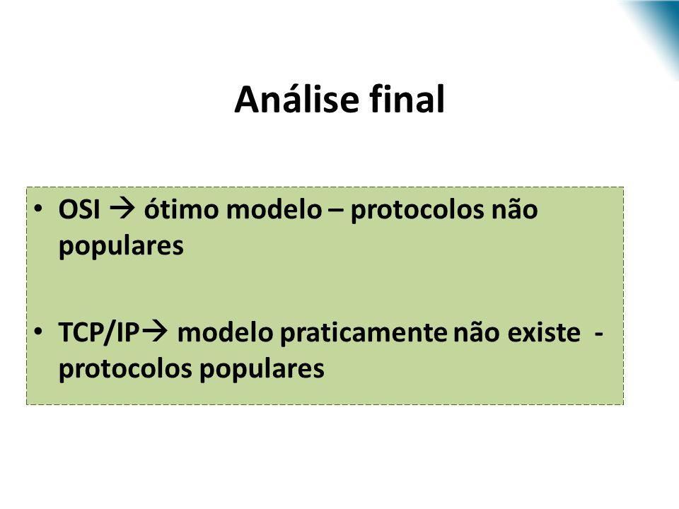 OSI ótimo modelo – protocolos não populares TCP/IP modelo praticamente não existe - protocolos populares Análise final