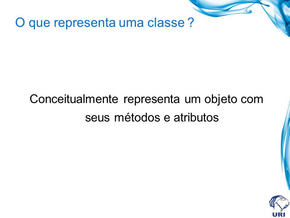 O que representa uma classe ? Conceitualmente representa um objeto com seus métodos e atributos