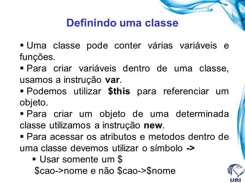 Definindo uma classe Uma classe pode conter várias funções e variáveis. Uma classe pode conter várias variáveis e funções. Para criar variáveis dentro