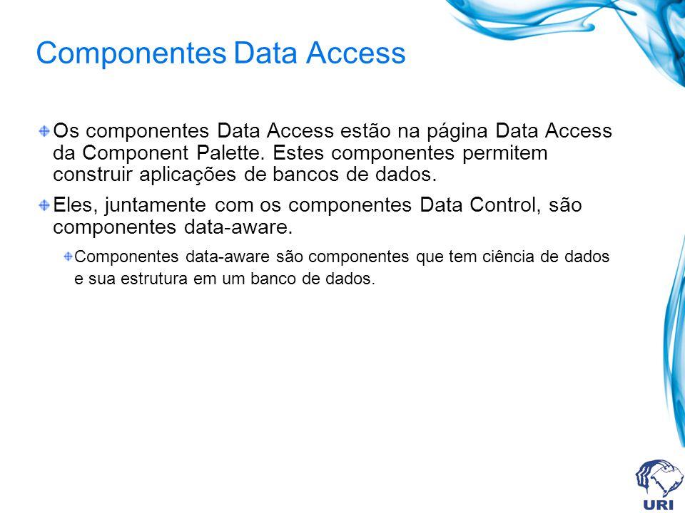 Componentes Data Access Os componentes Data Access estão na página Data Access da Component Palette.