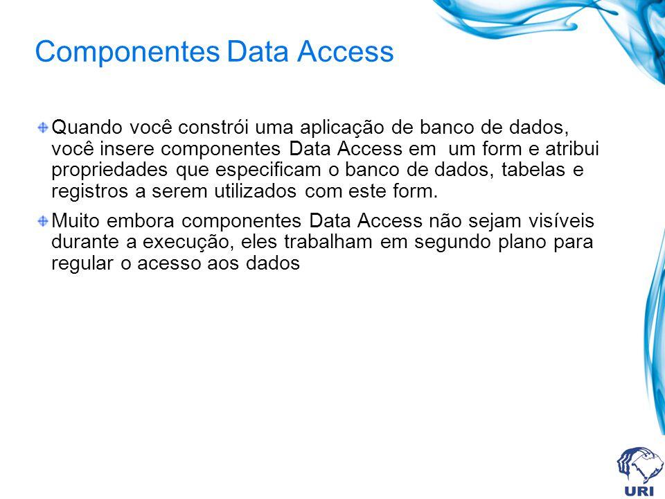 Componentes Data Access Quando você constrói uma aplicação de banco de dados, você insere componentes Data Access em um form e atribui propriedades que especificam o banco de dados, tabelas e registros a serem utilizados com este form.