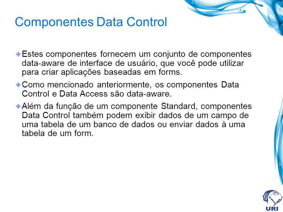 Componentes Data Control Estes componentes fornecem um conjunto de componentes data-aware de interface de usuário, que você pode utilizar para criar aplicações baseadas em forms.