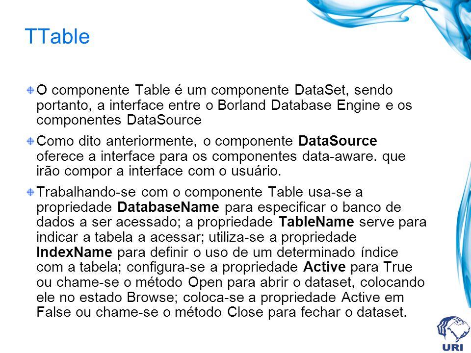 TTable O componente Table é um componente DataSet, sendo portanto, a interface entre o Borland Database Engine e os componentes DataSource Como dito anteriormente, o componente DataSource oferece a interface para os componentes data-aware.