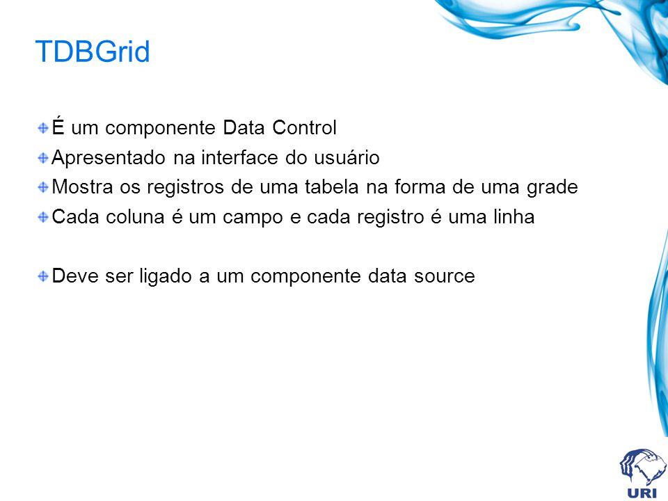 TDBGrid É um componente Data Control Apresentado na interface do usuário Mostra os registros de uma tabela na forma de uma grade Cada coluna é um campo e cada registro é uma linha Deve ser ligado a um componente data source