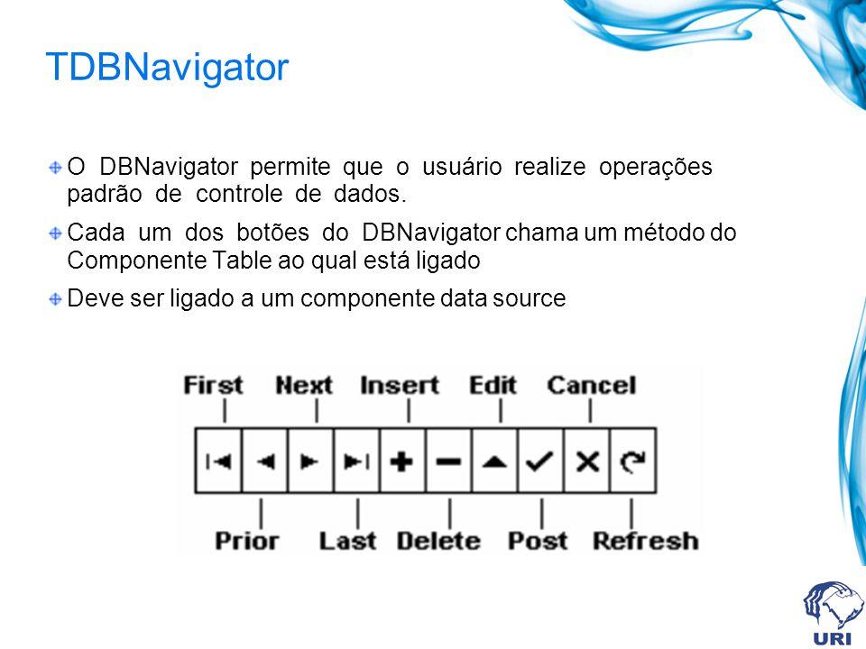 TDBNavigator O DBNavigator permite que o usuário realize operações padrão de controle de dados.