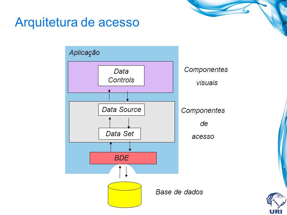Classes de componentes Há duas grandes classes de componentes: os componentes de acesso a dados (data-access) e os componentes de controle, visualização e manipulação dos dados (data- controls) Os componentes de visualização e manipulação de dados são também denominados de componentes data-aware (componentes capazes de mostrar e atualizar os dados armazenados em uma tabela associada) Estes dois grupos de componentes estão localizados, respectivamente, nas paletes Data Access e Data Controls