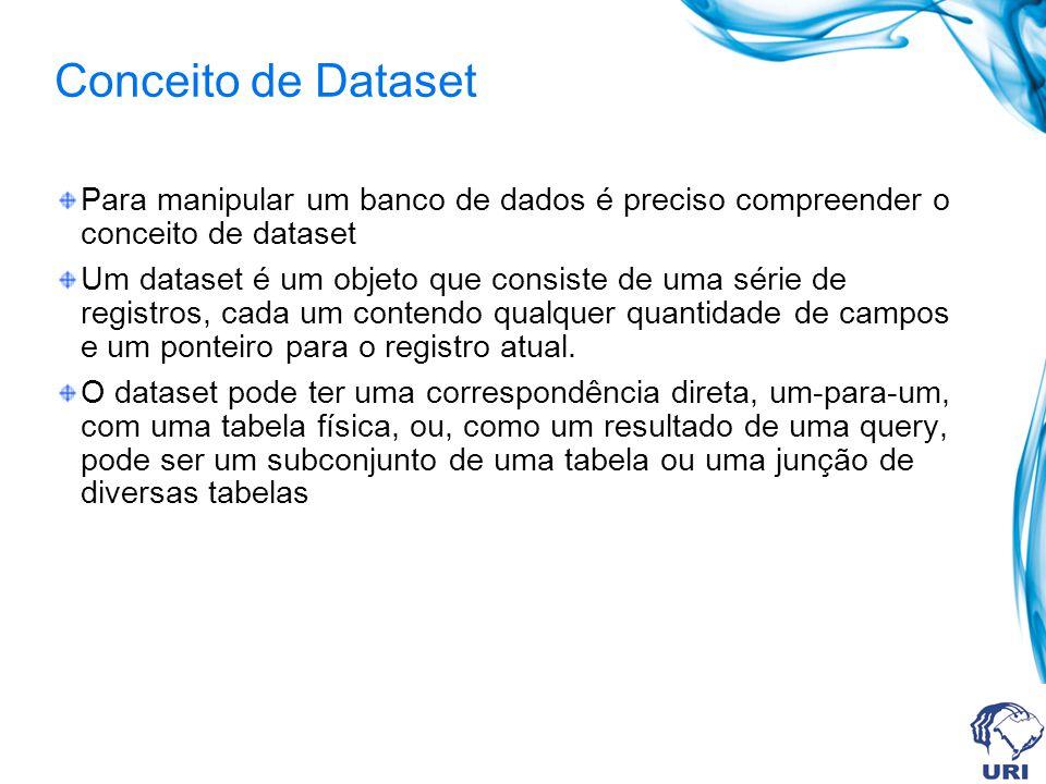 Conceito de Dataset Para manipular um banco de dados é preciso compreender o conceito de dataset Um dataset é um objeto que consiste de uma série de registros, cada um contendo qualquer quantidade de campos e um ponteiro para o registro atual.