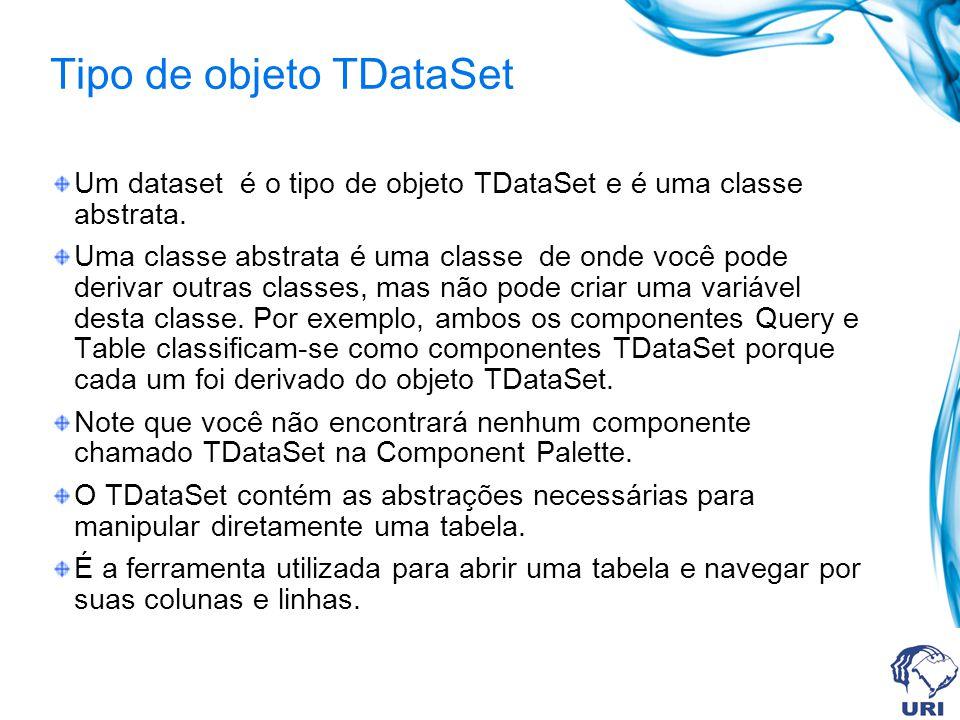 Componentes derivados de TDataSet Os principais componentes do tipo data-access utilizados na criação de aplicações com bancos de dados em C++ Builder são os componentes derivados da classe abstrata TDataSet, que são: Table da classe TTable, Query da classe TQuery e StoredProc da classe TStoredProc.