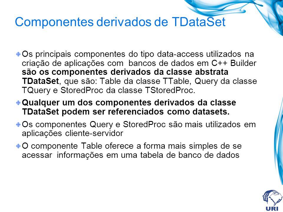 Definir as seguintes propriedades: -TTable: DatabaseName: Agenda TableName: Agenda.DB Name: tbAgenda Active: True -DataSource Dataset: tbAgenda Name: dsAgenda -TDBGrid DataSource: dsAgenda -TLabel Name: lbEstado Caption: deixe em branco