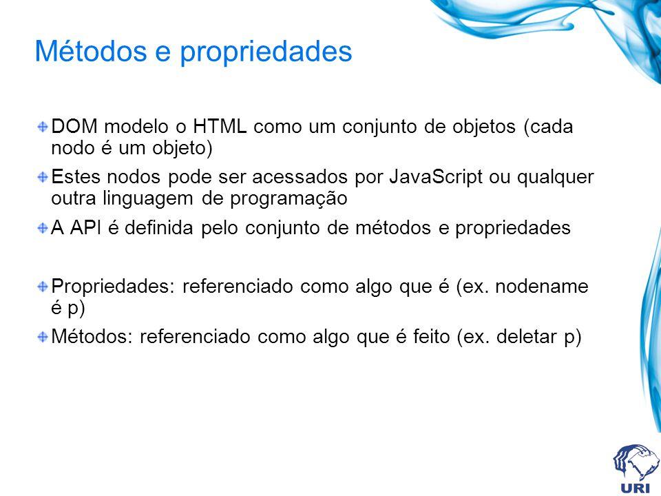 Métodos e propriedades DOM modelo o HTML como um conjunto de objetos (cada nodo é um objeto) Estes nodos pode ser acessados por JavaScript ou qualquer outra linguagem de programação A API é definida pelo conjunto de métodos e propriedades Propriedades: referenciado como algo que é (ex.