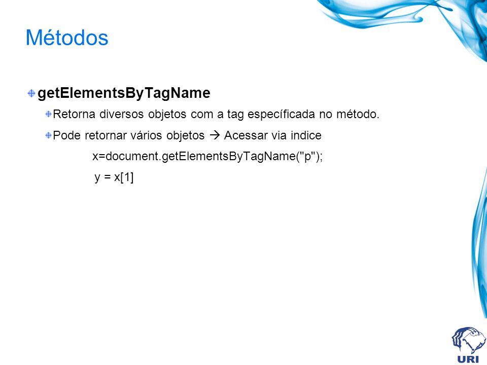 Métodos getElementsByTagName Retorna diversos objetos com a tag específicada no método.