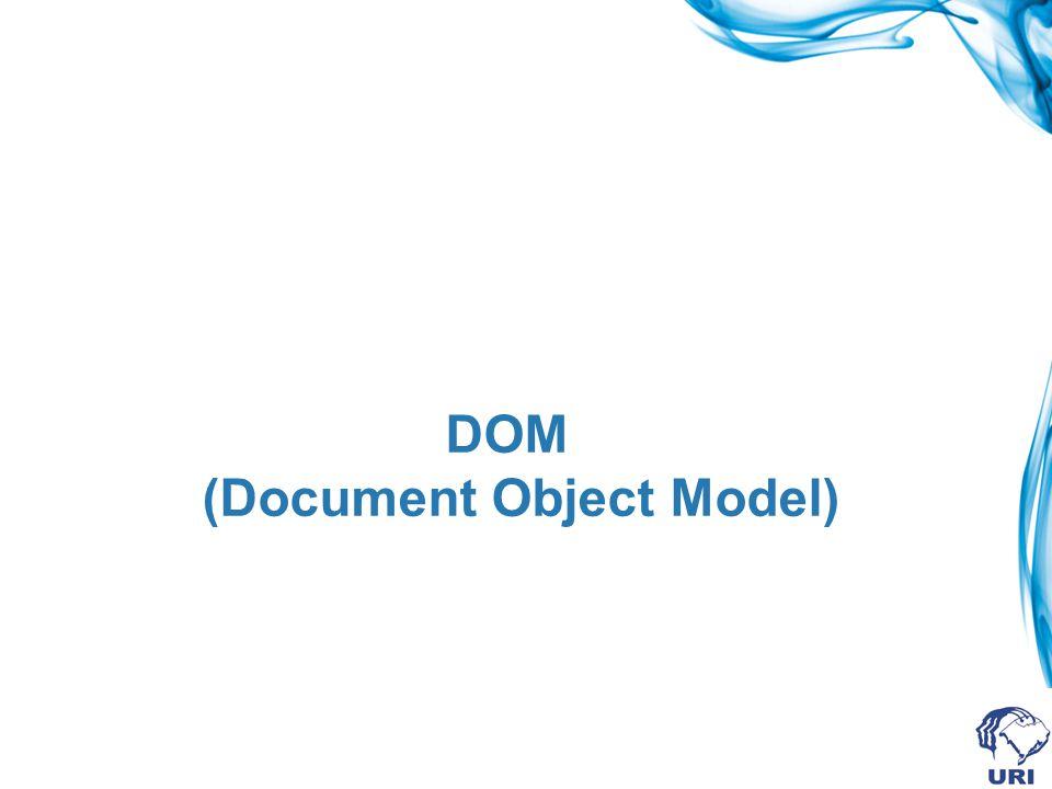 Introdução DOM é um padrão W3C (World Wide Web Consortium) Define um padrão para acesso a elementos de documentos como HTML e XML Document Object Model (DOM) é uma plataforma e uma interface de linguagem-neutra que possibilita aos programas e scritps acessarem e atualizarem dinâmicamente o conteúdo e o estilo de um documento.