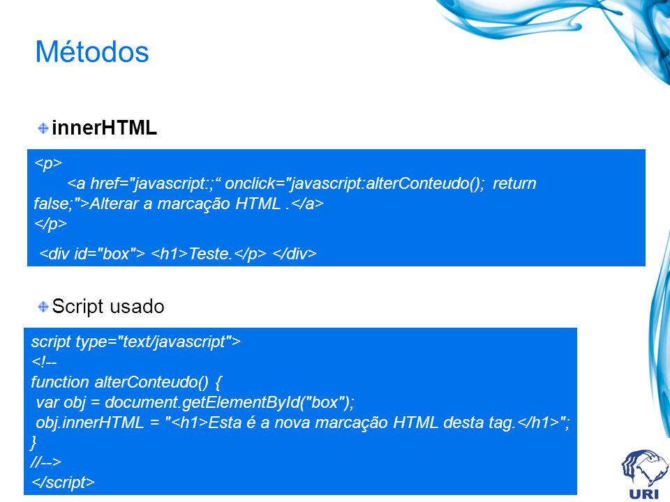 Métodos innerHTML Script usado script type= text/javascript > Esta é a nova marcação HTML desta tag.