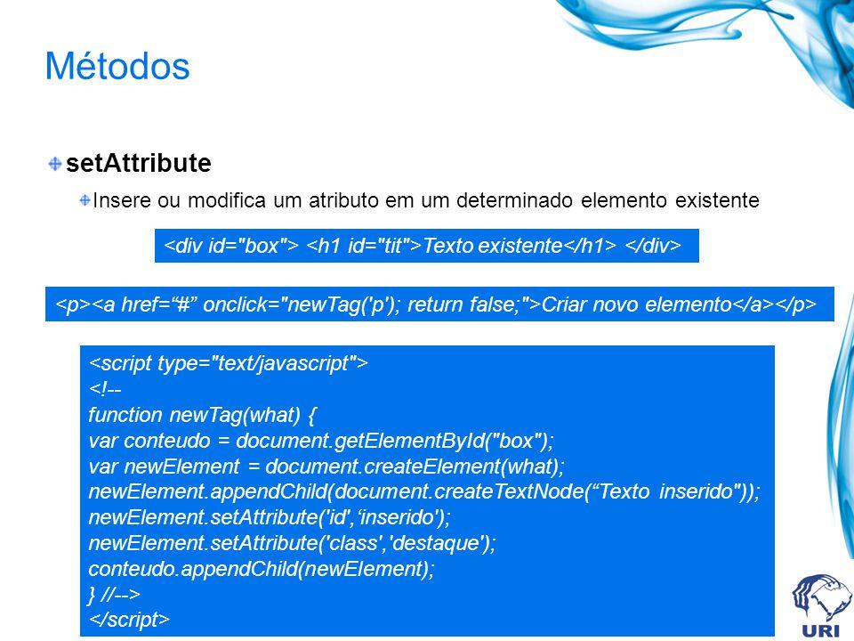 Métodos setAttribute Insere ou modifica um atributo em um determinado elemento existente Texto existente Criar novo elemento