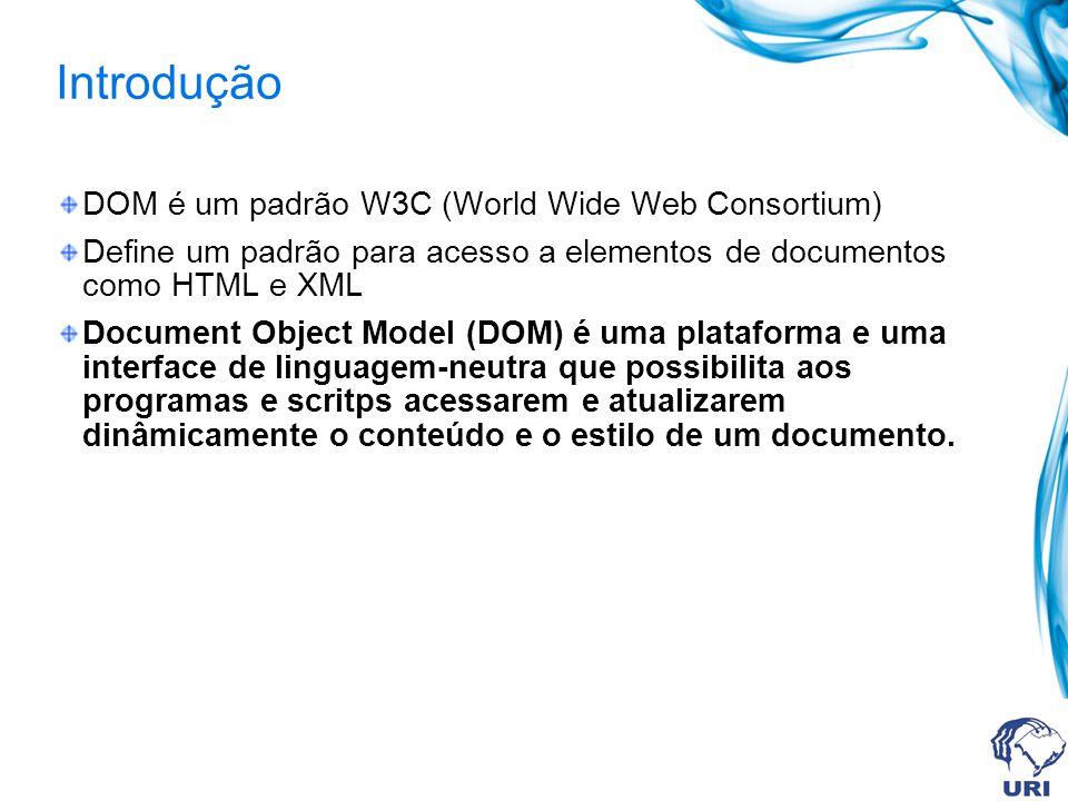Introdução Separado em 3 partes / níveis: Core DOM – modelo padrão para qualquer estrutura de documento XML DOM – modelo padrão para documentos XML HTML DOM - modelo padrão para documentos HTML DOM define objetos e propriedades para todos elementos do documentos e métodos (interfaces) para acesso a eles