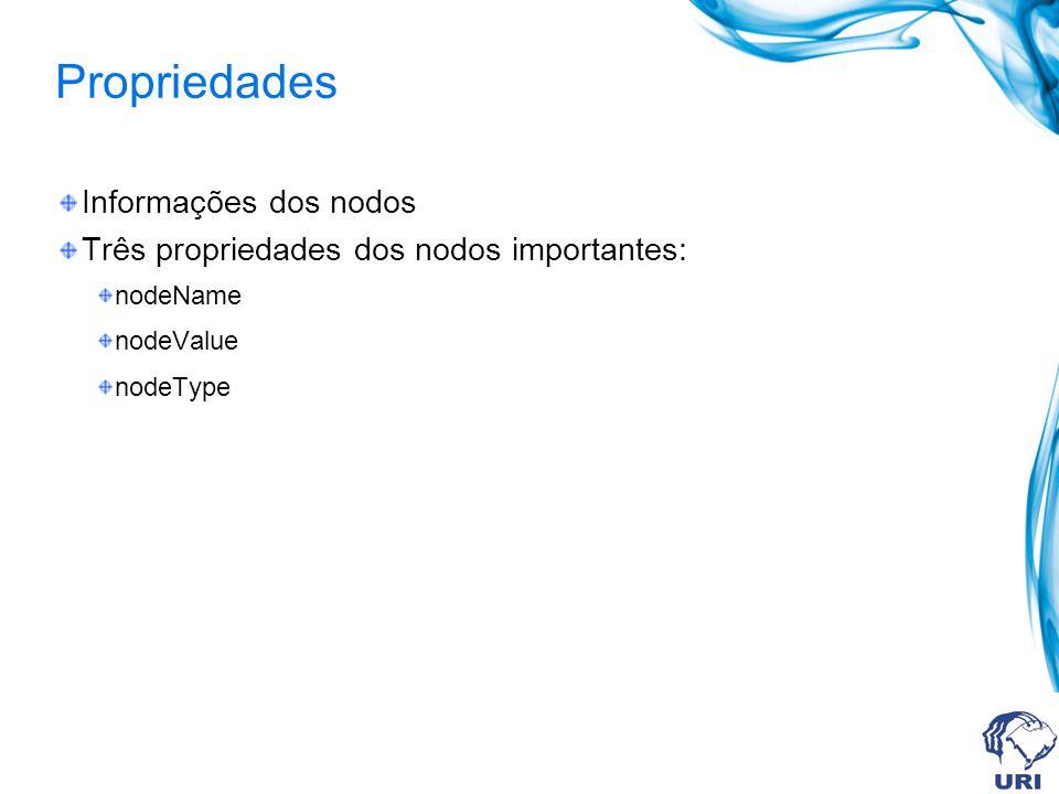 Propriedades Informações dos nodos Três propriedades dos nodos importantes: nodeName nodeValue nodeType