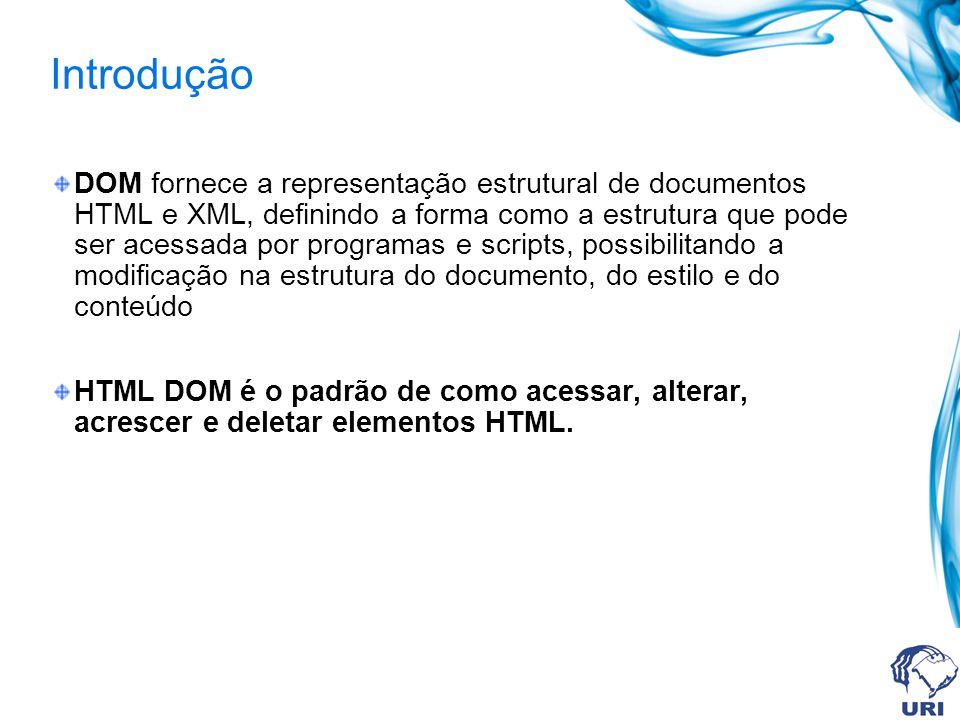 Introdução DOM fornece a representação estrutural de documentos HTML e XML, definindo a forma como a estrutura que pode ser acessada por programas e scripts, possibilitando a modificação na estrutura do documento, do estilo e do conteúdo HTML DOM é o padrão de como acessar, alterar, acrescer e deletar elementos HTML.