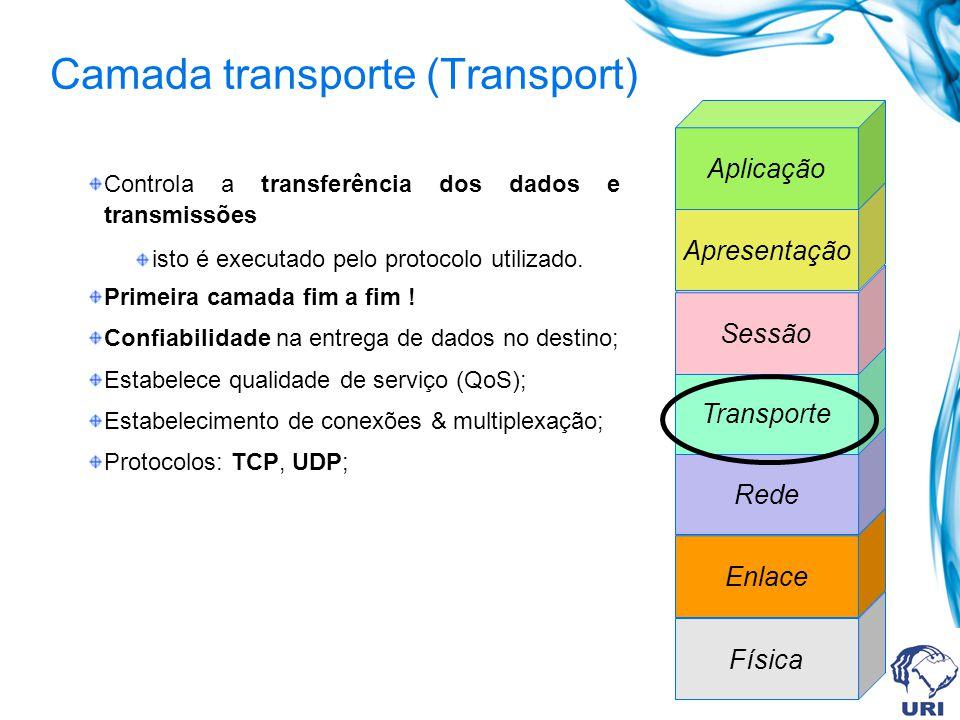 Camada transporte (Transport) Controla a transferência dos dados e transmissões isto é executado pelo protocolo utilizado. Primeira camada fim a fim !