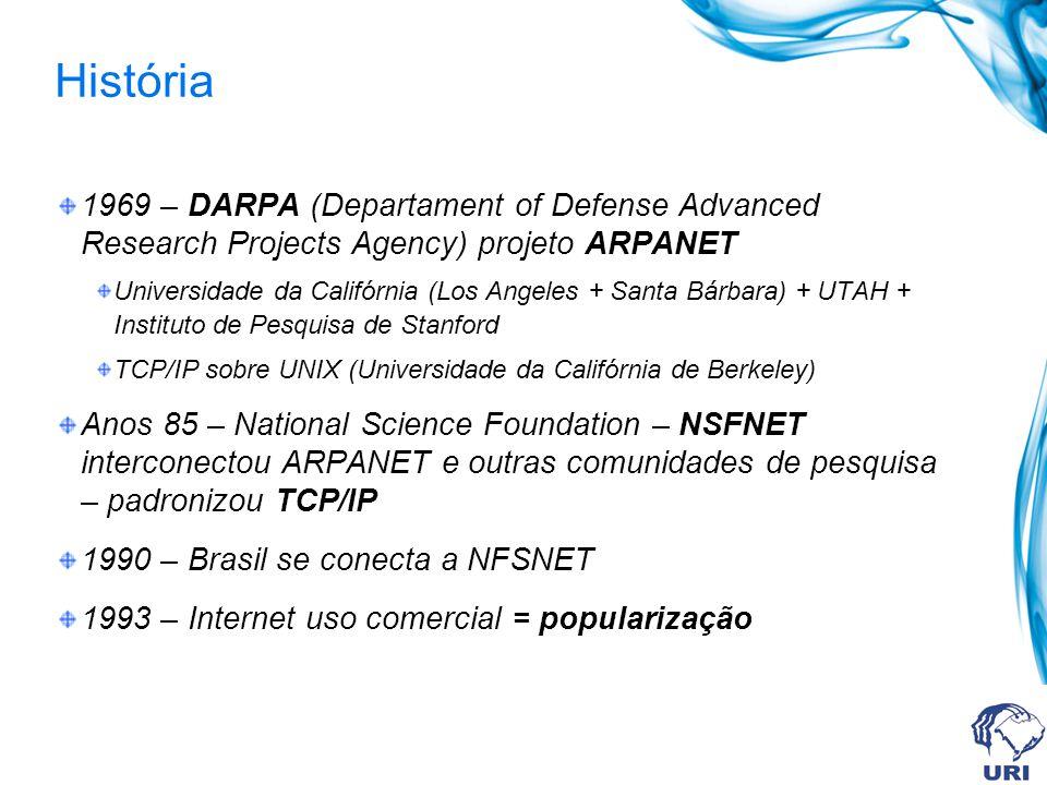 História 1969 – DARPA (Departament of Defense Advanced Research Projects Agency) projeto ARPANET Universidade da Califórnia (Los Angeles + Santa Bárba