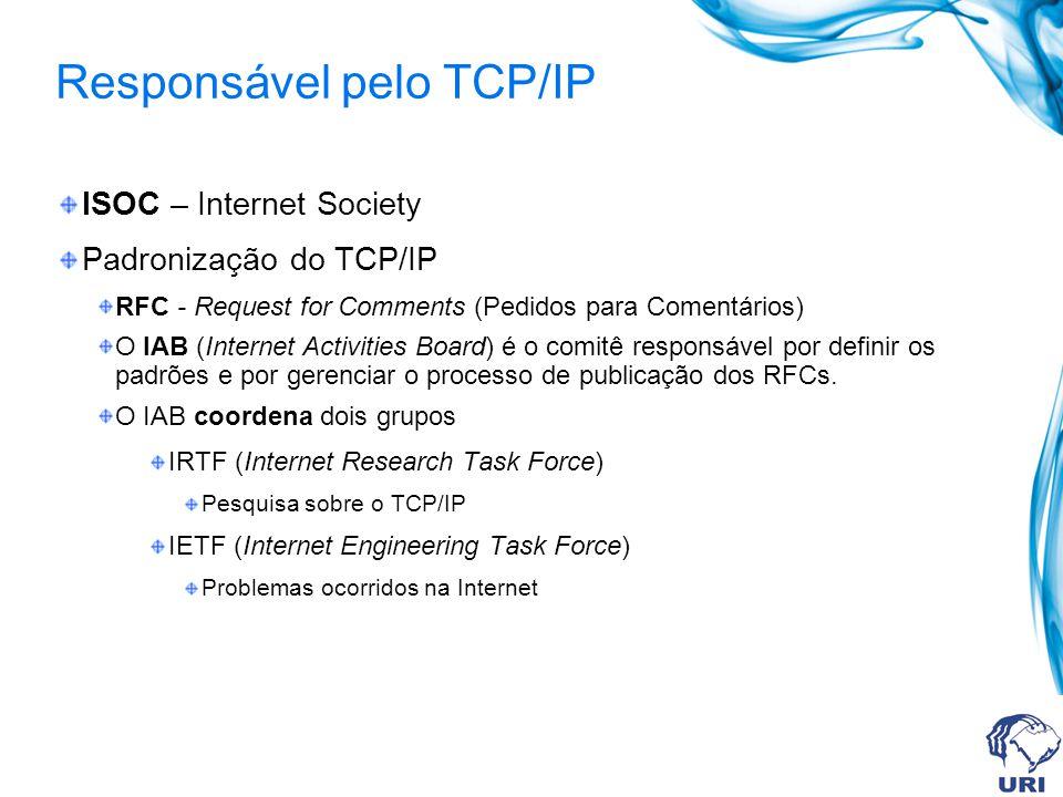 Responsável pelo TCP/IP ISOC – Internet Society Padronização do TCP/IP RFC - Request for Comments (Pedidos para Comentários) O IAB (Internet Activitie
