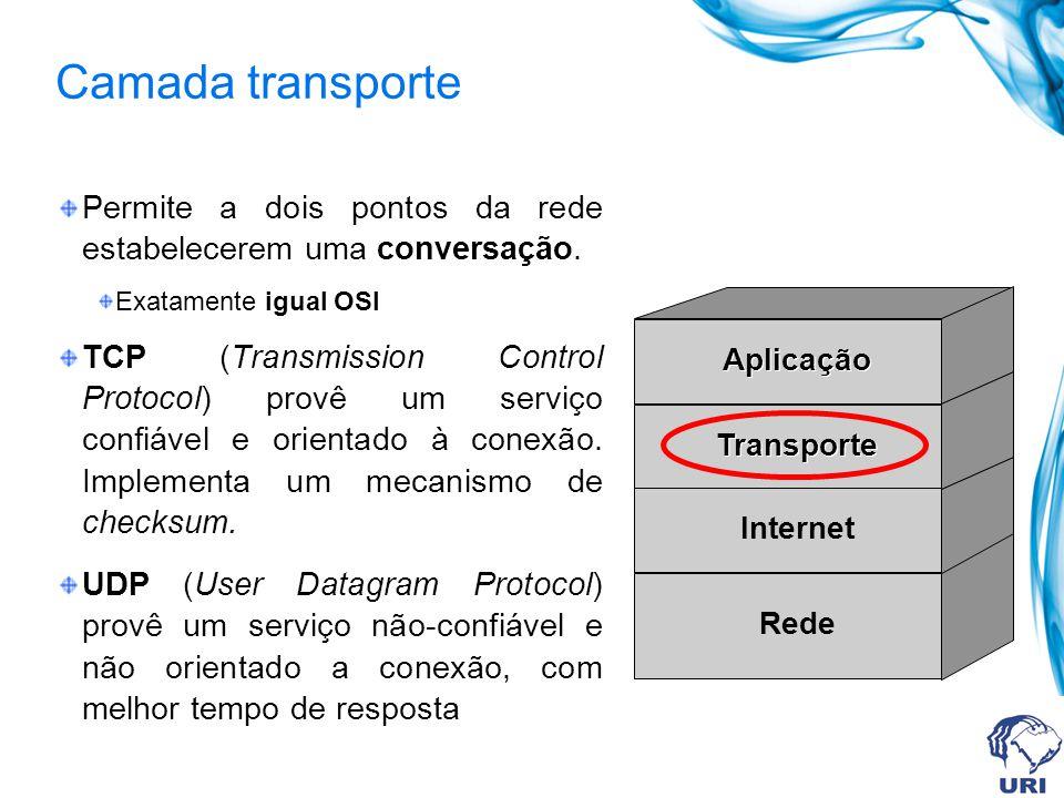 Camada transporte Permite a dois pontos da rede estabelecerem uma conversação. Exatamente igual OSI TCP (Transmission Control Protocol) provê um servi