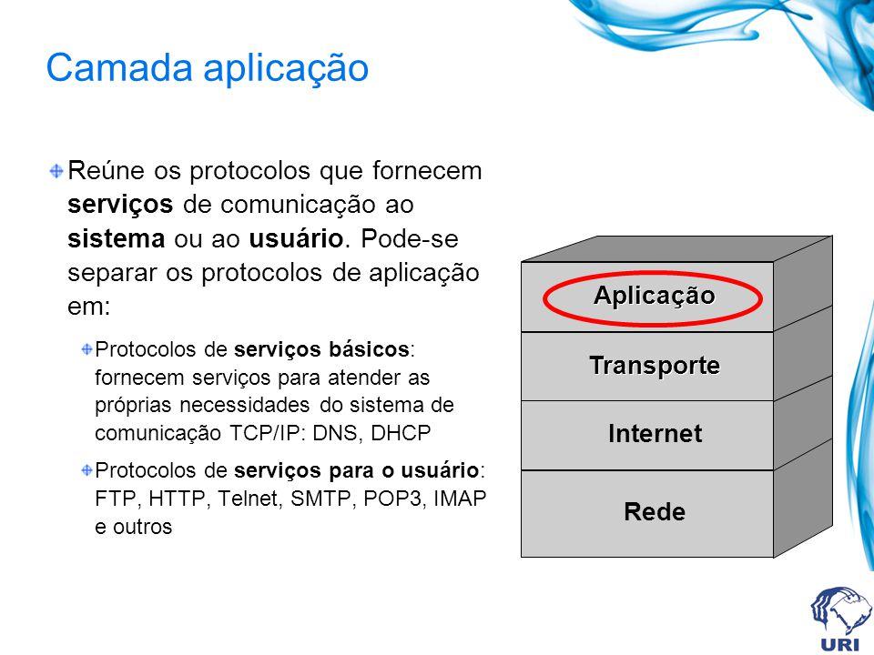 Camada aplicação Reúne os protocolos que fornecem serviços de comunicação ao sistema ou ao usuário. Pode-se separar os protocolos de aplicação em: Pro