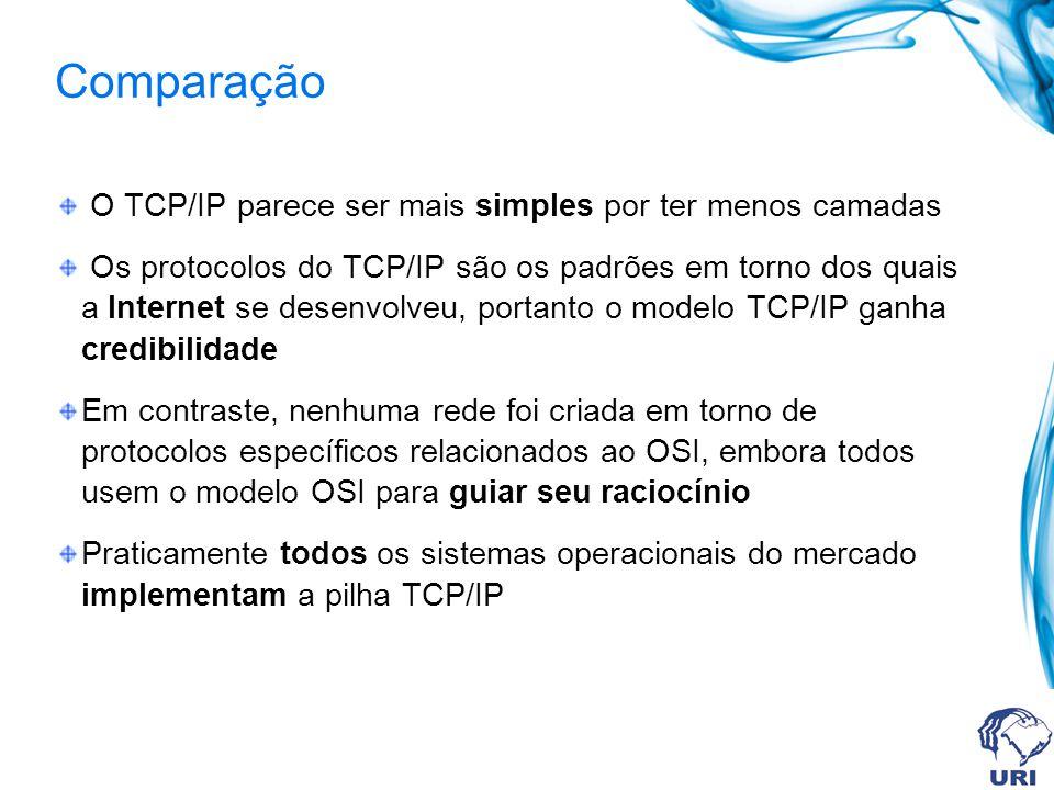 Comparação O TCP/IP parece ser mais simples por ter menos camadas Os protocolos do TCP/IP são os padrões em torno dos quais a Internet se desenvolveu,