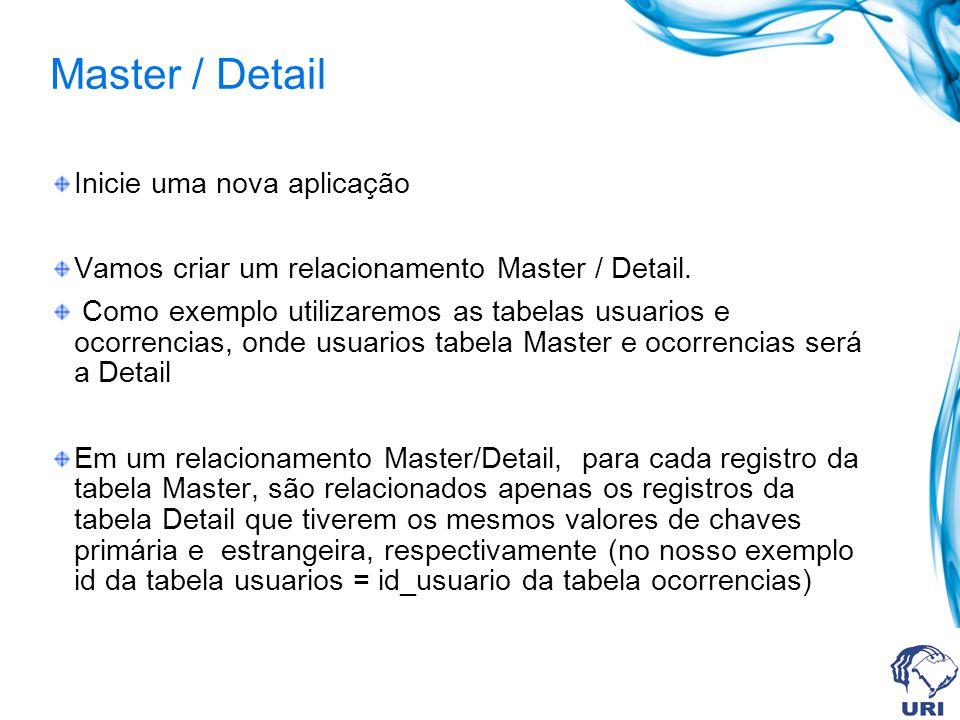 Master / Detail Inicie uma nova aplicação Vamos criar um relacionamento Master / Detail. Como exemplo utilizaremos as tabelas usuarios e ocorrencias,