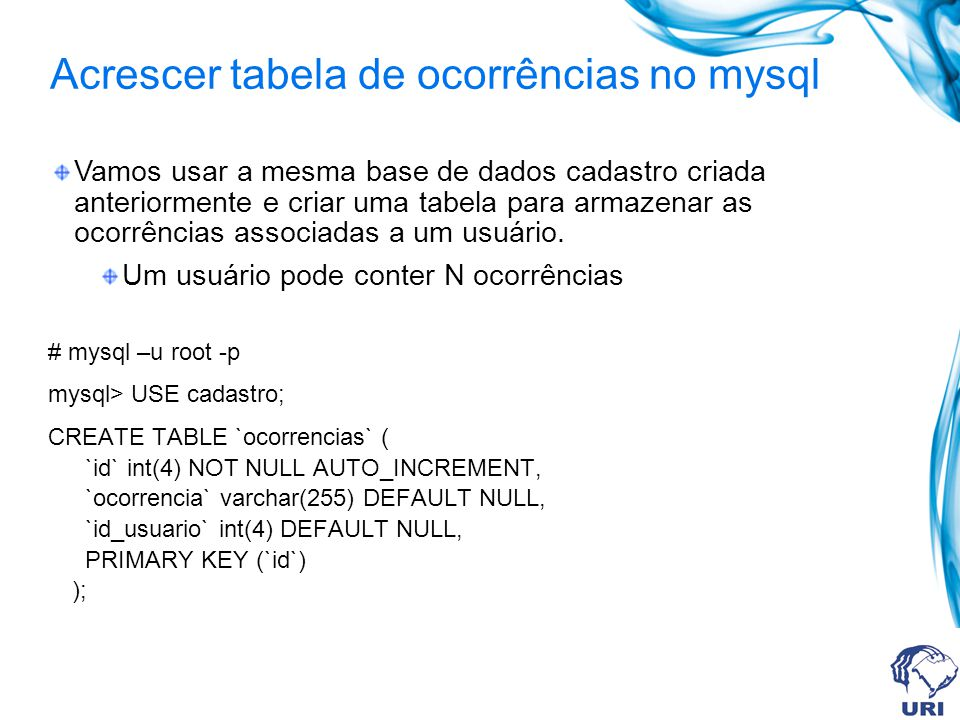 Acrescer tabela de ocorrências no mysql # mysql –u root -p mysql> USE cadastro; CREATE TABLE `ocorrencias` ( `id` int(4) NOT NULL AUTO_INCREMENT, `oco