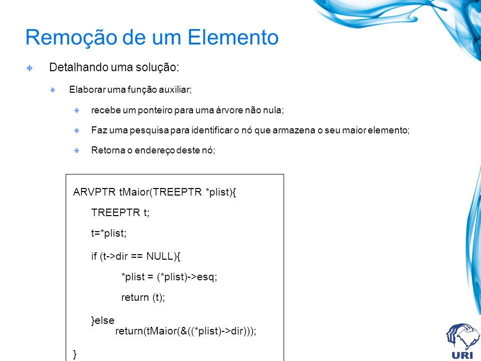 Remoção de um Elemento Detalhando uma solução: Elaborar uma função auxiliar; recebe um ponteiro para uma árvore não nula; Faz uma pesquisa para identificar o nó que armazena o seu maior elemento; Retorna o endereço deste nó; ARVPTR tMaior(TREEPTR *plist){ TREEPTR t; t=*plist; if (t->dir == NULL){ *plist = (*plist)->esq; return (t); }else return(tMaior(&((*plist)->dir))); }